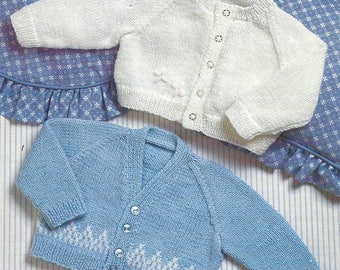 PDF Instant Digital Download baby quick and easy round & V neck cardigans knitting pattern 16 to 22 inch  (507)