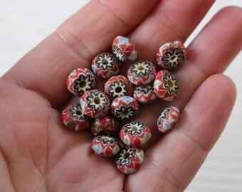 vintage Nepal glass chevron beads