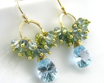 Blue Topaz Earrings Gemstone Cluster 14k Gold Fill Aquamarine Green Tourmaline No. 23 Designer Handmade Fashion Jewelry Jennifer Casady