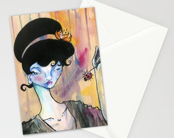"Set of Art Stationery Greeting Card I See Right Through You Surreal Lowbrow art Ela Steel  Japanese girl colorful painting 5x7"" blank inside"