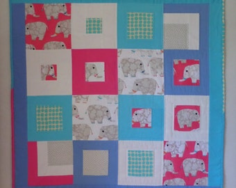 NEW Baby Elephants Flannel Baby Quilt, Hot Pink, Aqua, Grey, Periwinkle, 42 x 42 inches