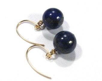 Gold filled, lapis lazuli earrings