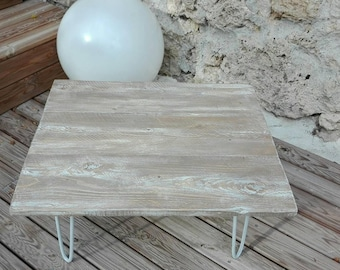 Table low Scandinavian spirit, your white limed grey