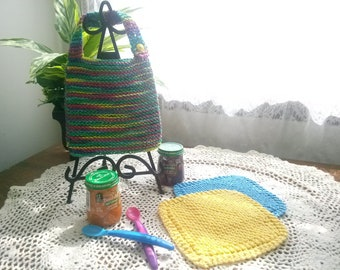 Tutti Frutti Hand Knit Baby Bib and Washcloth Set