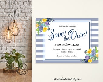 Save the Date Announcements, Engagement Announcement Cards, Wedding Announcement, Eloped Post Wedding Announcement, dusty blue, printable