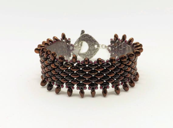 Bronze Colored Peyote Bracelet - 7 inch