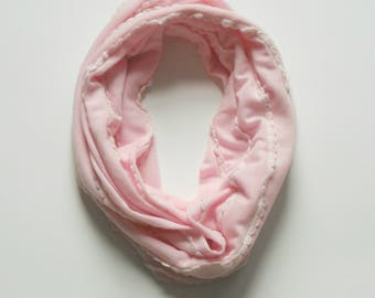 Light Pink Toddler Infinity Scarf, Child Infinity Scarf, Kid Infinity Scarf, Loop Scarf, Tube Scarf, Circle Scarf, Drool Scarf Bib