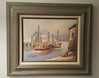 W. Jones Oil on Canvas Seascape Framed