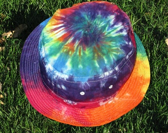 Tie-Dye Bucket Hat in Rainbow Swirls