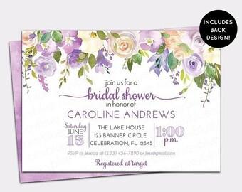 JUNE SALE Purple Peony Bridal Shower Invitation - Floral Watercolor Lilac Bridal Shower Invite - Lavender Floral Wall Bridal Brunch invitati