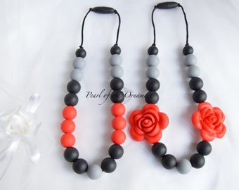 Red black gray Teething necklace nursing necklace silicone necklace sensory necklace moms girl baby toddler teether chew chewelry Autism