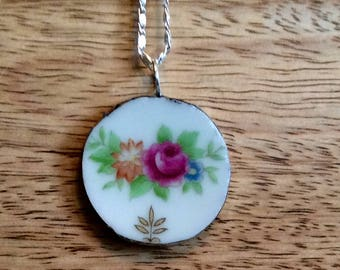 BROKEN CHINA Antique Necklace Pendant, Sterling Silver, Silver, Recycled China, Old