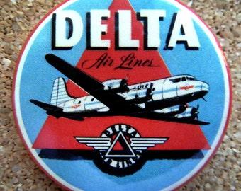 1955 Delta Airlines Design Button Pin Back Modernist Mid-Century Deco #28