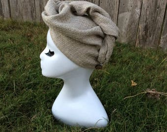 Waffle Linen Turban Hair Towel, Linen Hair Turban, ZERO tangles or snarls. Thick and Soft, Holds lots of hair | Handmade
