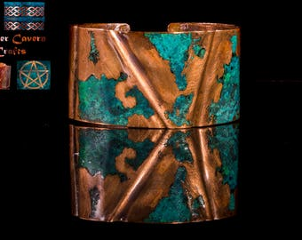 Large fold formed, blue, green patina copper cuff