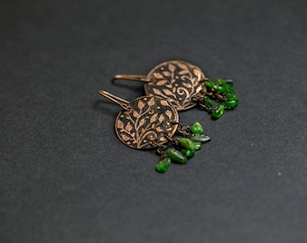 Copper earrings Nature jewelry Natural earrings Green earrings Forest jewelry Forest earrings Floral earrings Green stone Diopside Leafs