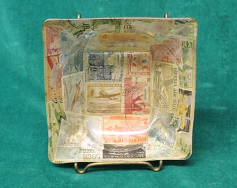 Vintage Canceled Postage Stamps ASHTRAY international stamps Liberia Chile Colombia France USA crafts style tobacciana mid century vintage