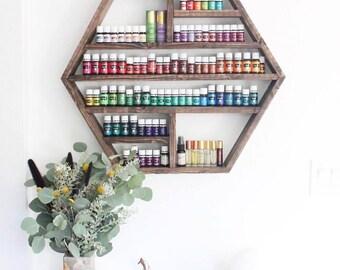 Large Hexagon Shelf, Essential Oil Shelf, Geometric Shelf, Floating Shelf