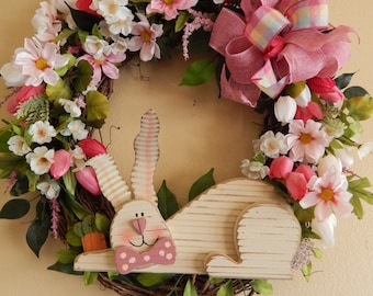 EASTER BUNNY WREATH---grapevine with wood rabbit