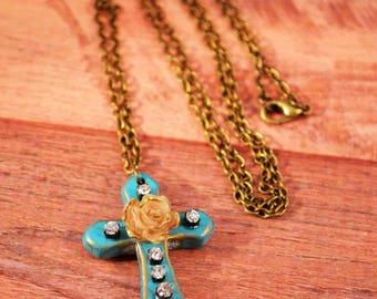 Rose Cross Antique Bronze Necklace, Rose Cross Jewelry, Rose Cross Necklace, Christian Jewelry, Christmas Cross, Christian Necklace