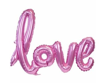"Pink Love Balloon script font/ 40"" balloon banner/ air fill only/ script balloon/wedding balloon/ jumbo balloon/"