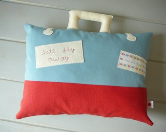 Suitcase Pillow - Lets Fly Away - Travel Theme - Decorative Pillow - Nursery