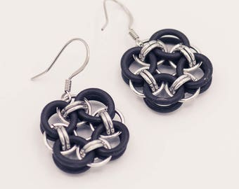 Aluminum & Rubber Celtic Chainmail Earrings