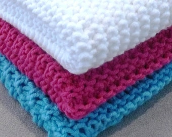 3 Different dish/face/wash cloths - INSTANT DOWNLOAD PDF Knitting Pattern