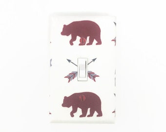 Woodland Light Switch Cover - Bear Switch Plate - Gender Neutral Nursery