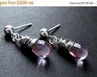 SUMMER SALE Wire Wrapped Pink Earrings in Glass Teardrops with Silver Stud Earrings. Handmade Earrings.