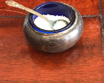 Antique Sterling Silver Salter with spoon and cobalt glass