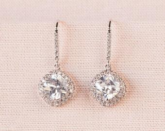 Cushion Cut Bridal Earrings Square Blue crystal wedding earrings Halo  Bridesmaids Wedding Jewellery,  Molly Earrings