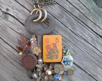 Vintage Handmade Neckpiece Collage with Skeleton Key and Vintage Jewelry