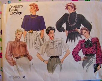 VOGUE Blouse | Loose fitting Multi sleeve Multi collar|  Shoulder Pads | Misses 12 bust 34 | VOGUE 1581 | vintage 1985 sewing pattern