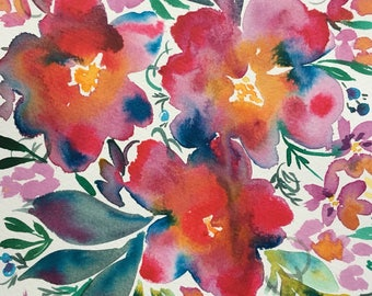 Flowing Rainbow floral painting 7x10 inches
