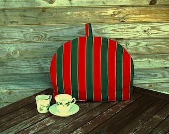 Striped Coffee Pot Cozy, Red Green Cotton Cozy, Red, Green,  Coffee Pot Warmer, Handmade, Large Size,