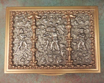 Ornate Gold and Silver Cherub Jewelry Box / Jewelry Box with Cherubs / Reproduction Erhard and Sohne Jewelry Box / Metal Jewelry Box