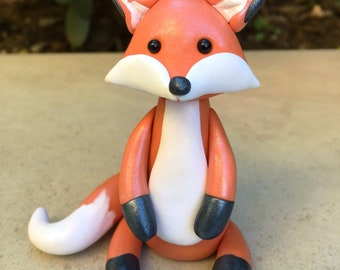 Fox cake topper ,woodland baby shower birthday cake topper,keepsake polymer clay fox figure,woodland cake topper,