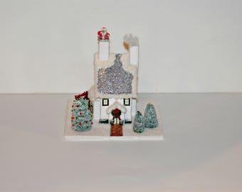 Glitter House, Handmade White and Silver Glitter House, Christmas Village House, Putz Style House, Christmas Village House, Christmas Decor