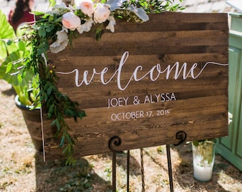Wedding Welcome Sign - Rustic Wood Wedding Sign - Sophia Collection