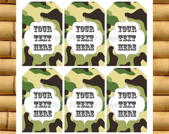 Gift Tags, Thank You Tags, Party Favor Tags, Present Tags, Camo, Green Camo, Printable, Instant Download - TFD226