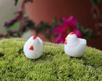 Miniature Chicken Figurine, White Hen Bird Farm Animal - Terrarium Mini Accessories