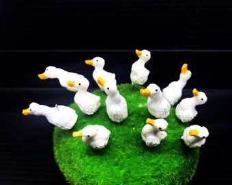 Set 5 pcs. Terrarium Mini White Ducks Stake Miniature Dollhouse Fairy Garden accessories
