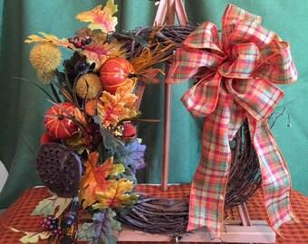 Grapevine Plaid Wreath