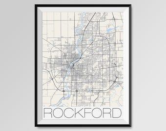 ROCKFORD Illinois Map, Rockford City Map Print, Rockford Map Poster, Rockford Wall Map Art, Rockford gift, Custom city maps, Personalized