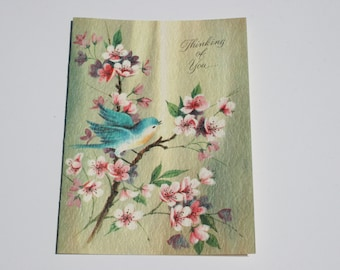 Vintage Blue Bird Card, Thinking of You Card, Unused Old Fashioned Greeting Card, Hello Friend Card