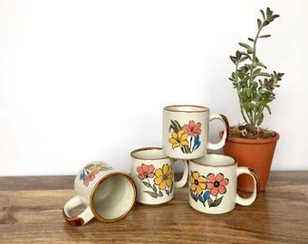 Vintage Mugs | Set of 4 Pottery Mugs | Colorful Flower Design | Vintage Serveware, Drinkware, Kitchenware
