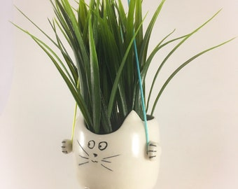 Hanging planter, ceramic cat planter, cactus pot, cat lover gift, succulent planter, minimalist planter, gift for her, mother's day gift