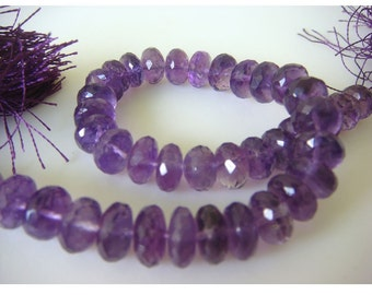 Amethyst Rondelles - 8mm Micro Faceted Rondelles - 4.5 Inch Half Strand - 20 Pieces Approx