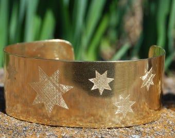 Star Bracelet ,  Cherokee Jewelry,  Gold Cuff, Brass Bracelet, Seven Clans, Cherokee Jewelry,  Native American Jewelry
